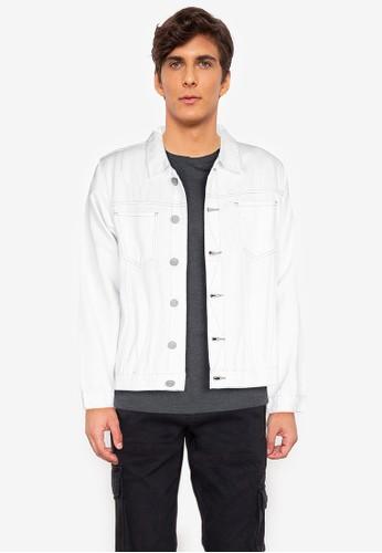 ZALORA BASICS white Contrast Stitching Denim Jacket D132DAAD36F33AGS_1