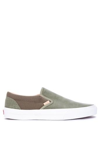 VANS green Textured Suede Classic Slip-On Sneakers 670FFSH8073035GS_1