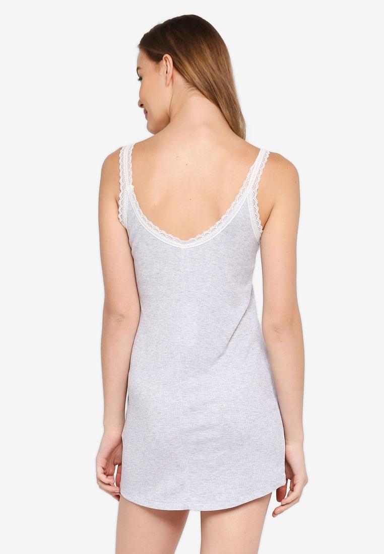 Body Tank Marle On Rib Grey Nightie Cotton wTFq5C5