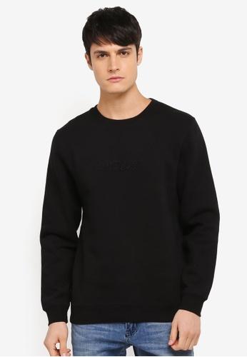 Stussy black 3D Raised Applique Crew Neck Sweatshirt ST135AA0SX42MY_1