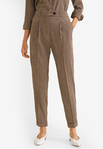 Mango brown Check Suit Trousers EC963AA2594350GS_1