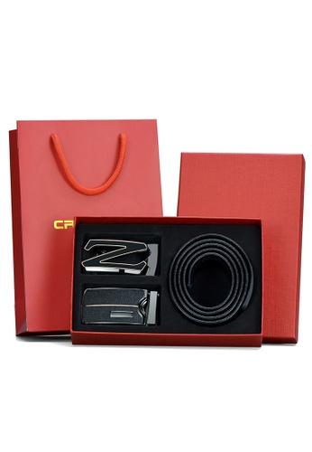 Jackbox black Set of 2 Belt Head Cryitee Premium Leather Automatic Design Buckle Men's Belt 810-15 6680BAC0F099AFGS_1