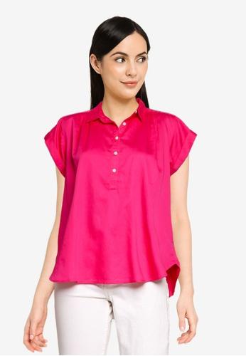 GAP pink Pleat Popover Top 13D22AAF4C205DGS_1