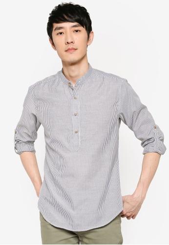 ZALORA BASICS multi Oxford Half Placket Shirt 6A052AAE7EC084GS_1