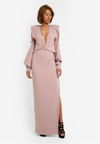 AfiqM beige 2 Way Off Shoulder Dress AF546AA0S2M7MY_1
