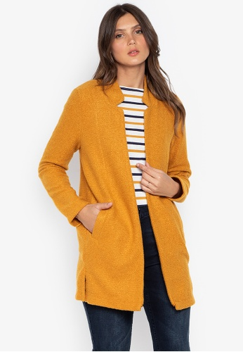 DEBENHAMS yellow The Collection - Cc Textured Lightweight Coat DC935AAC2F0EB4GS_1