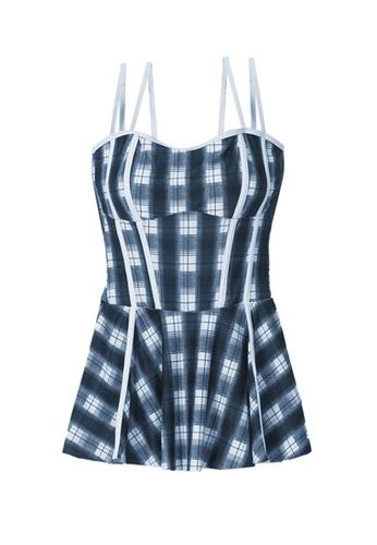 ZITIQUE multi Women's Non-wired Grid Pattern One-piece Swimsuit - Multi 8D105US76C3428GS_1