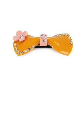 Glamorousky white Fashion Cute Flower Ribbon Orange Hair Slide with Cubic Zirconia 5A195ACB7A6B5DGS_1