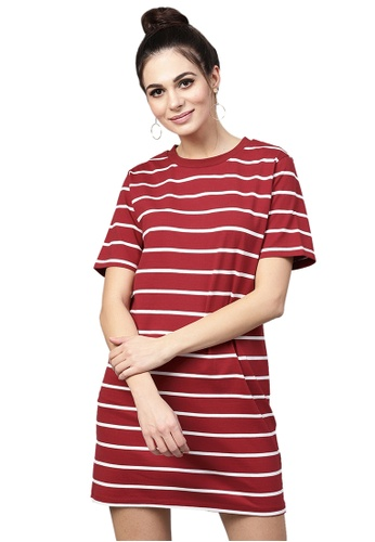 SASSAFRAS red Maroon White Stripe Shift Dress F447AAAD1BFDC3GS_1