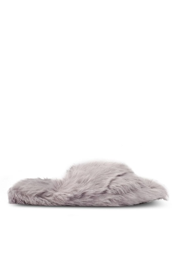 TOPSHOP grey DOLLY Faux Fur Cross Slippers TO412SH0S7U4MY_1
