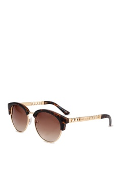 de2c5b1371 River Island brown Cara Bevelled Edge Chain Arm Clubmaster Sunglasses  50BC7GL4C120BDGS 1