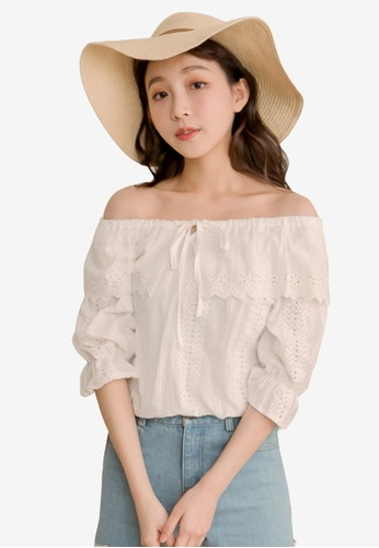Eyescream white Eyelet Lace Off Shoulder Top F481DAA2FD40C1GS_1