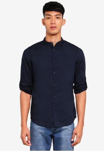OVS blue and navy Mandarin Collar Shirt 4F71FAA161FA2DGS_1