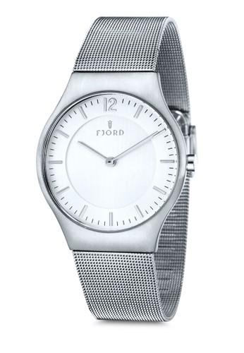 OLLE 雙指針金屬esprit台北門市網眼圓錶, 錶類, 不銹鋼錶帶