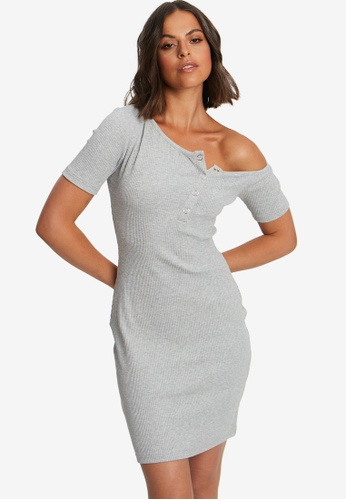 Calli grey Molly Rib Mini Dress EE532AAF4EE08FGS_1