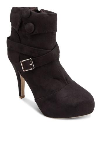 仿麂皮鈕飾高跟短esprit 面試靴, 女鞋, 靴子