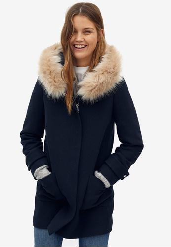 Mango blue Faux Fur Hooded Coat 19B9EAADE6C84FGS_1
