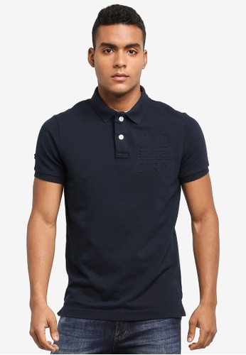 Superdry navy CLASSIC EMBOSS S/S PIQUE POLO 4CFB0AAB8FAE15GS_1