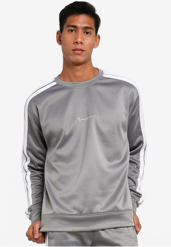 Mennace grey Tricot White Stripe Sweatshirt 67E5AAAFAA5F53GS_1