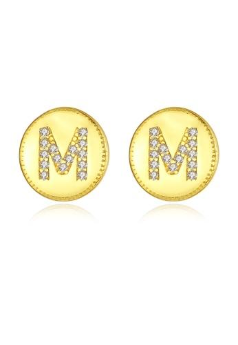 SUNRAIS gold Premium Silver S925 gold letter earrings 820AAAC8E87DC7GS_1