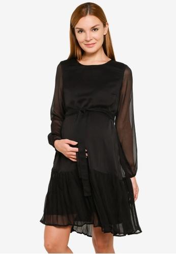 Mama.licious black Maternity Frida Woven Dress 818DFAA974BBC1GS_1