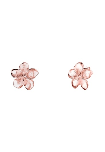Elli Germany gold 925 Sterling Silver Rosegold Plated Flower Frangipani Earrings EL474AC86GOBMY_1