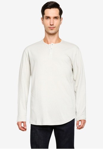 Cotton On white Longline Scoop Henley Long Sleeve T-Shirt 934D5AA70B588AGS_1