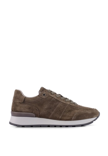 Selected Homme green FRANK Suede Runner Shoes C5441SHC204BA0GS_1
