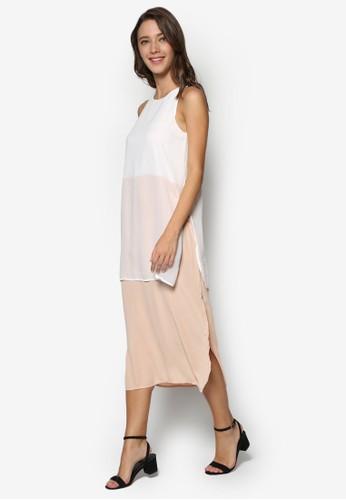側開叉層次撞esprit hk outlet色及膝連身裙, 服飾, 正式洋裝