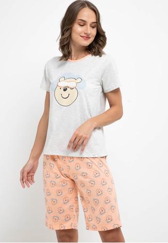 Puppy orange and grey Pyjama Pijama Short Sleeve Short Pants Sleepwear 67B5BAA8326D60GS_1