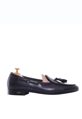 Zeve Shoes black Zeve Shoes Belgian Loafer - Black Grey With Tassel (Hand Painted Patina) D937DSHE03419FGS_1