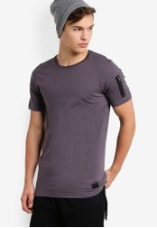 Flesh IMP grey Long Tab T-Shirt With Strip Tape FL064AA89NYCMY_1