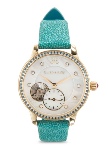 Australis 暗紋真皮女裝手esprit 衣服錶, 錶類, 飾品配件