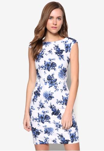 花卉印花短袖連身裙, zalora開箱服飾, 洋裝