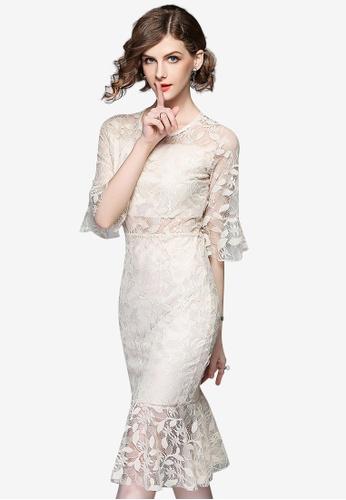 Sunnydaysweety beige Lace Floral Bodycon One Piece Dress 1AE06AA3FFECE8GS_1