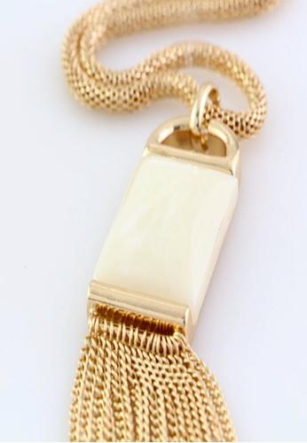Kimberley gold Kimberley Faux Stone Tasseled Necklace KI026AC26XPTPH_1