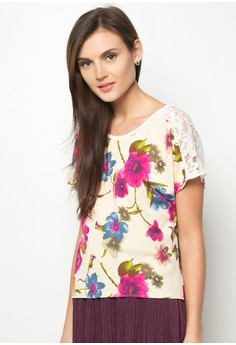Cess Cut-Out Lace Printed Top