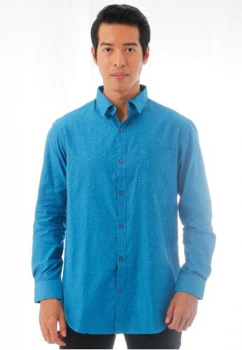 KAMDAR blue Schilleo Dots Shirt 0394CAAD816871GS_1