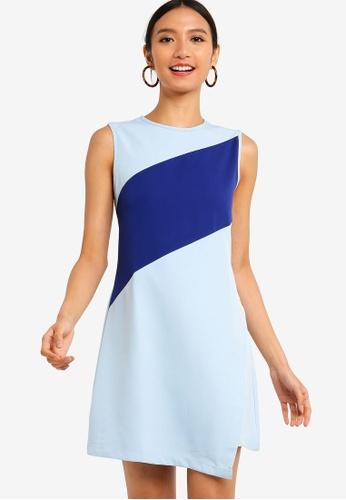 ZALORA 藍色 and 多色 撞色拼接洋裝 0DBD3AA44483B9GS_1