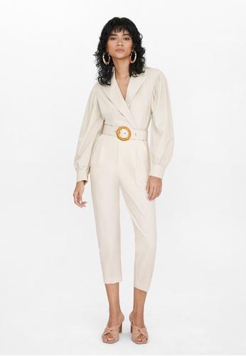 Pomelo beige Oversized Double Button Blazer - Cream 76FCDAAB75ED58GS_1