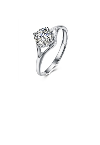 Glamorousky white 925 Sterling Silver Simple and Fashion Cut Out Diamond Adjustable Ring with Cubic Zircon 8D78AACCE851F9GS_1