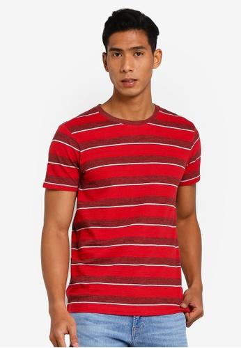 ESPRIT 紅色 條紋提花T恤 C8015AAB4CDA1BGS_1