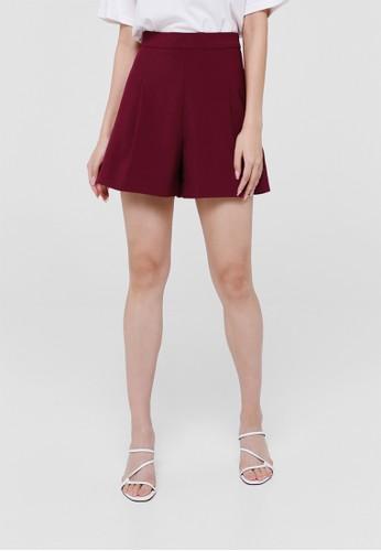 Love, Bonito red Agnes Pleated High Waist Shorts AB7FAAAC3E3A2BGS_1