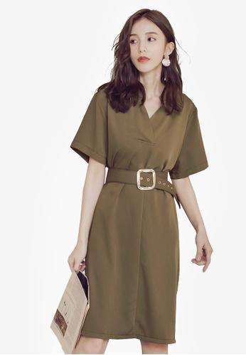 Yoco green V-Neck Dress With Belt 3666BAA4249200GS_1