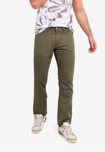OVS 綠色 5 口袋休閒長褲 81B35AAE36D4B9GS_1
