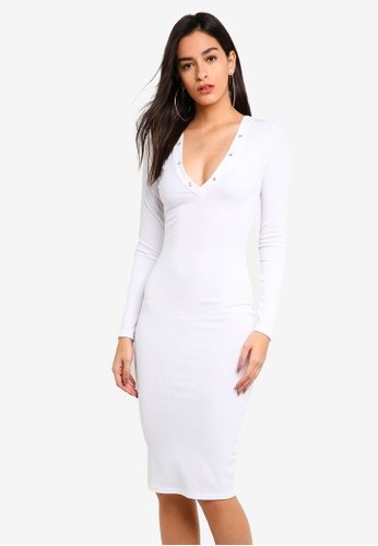 d6be9eed14f9 Buy MISSGUIDED Ribbed Popper Midi Dress White Online on ZALORA Singapore