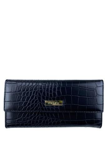 Mel&Co black Faux Leather Croco Embossed Long Wallet 7896EAC429430EGS_1