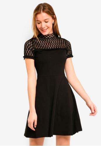 Dorothy Perkins 黑色 Black Lace Neck Dress 9CB1CAAE45A7EBGS_1