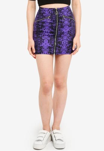 Factorie purple Zip Front A Line Skirt 2CCF5AAF8BF54EGS_1