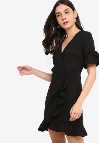 ZALORA black Overlap Ruffles Sheath Dress 5B57BAA00C743BGS_1